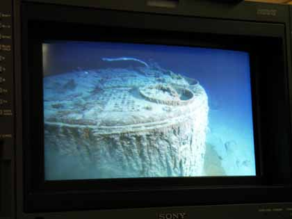 Video monitor showing Titanic wreckage. (Simon Mills by arrangement with the Lone Wolf Documentary Group, ME)
