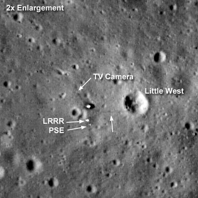 Lunar Reconnaissance Orbiter image of Apollo 11 landing site, including LLR.
