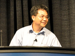Yang Yang gives a talk in the Solar Energy plenary session