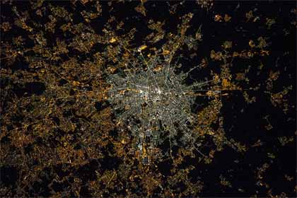 Milan at night from the International Space Station (NASA/ESA)