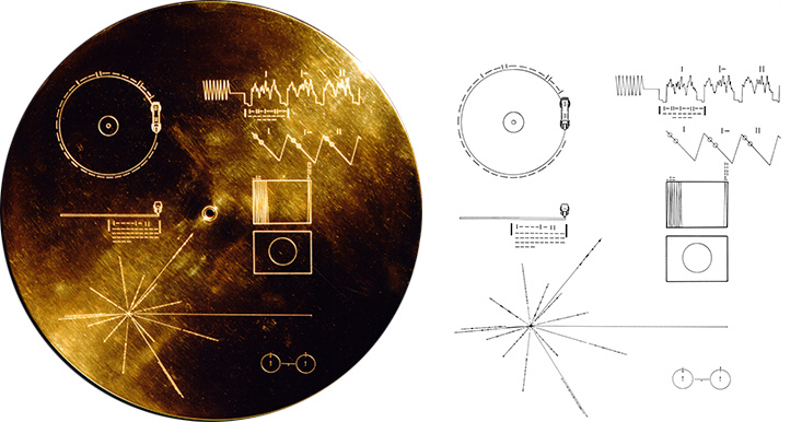 The Golden Record cover shown with its extraterrestrial instructions.
