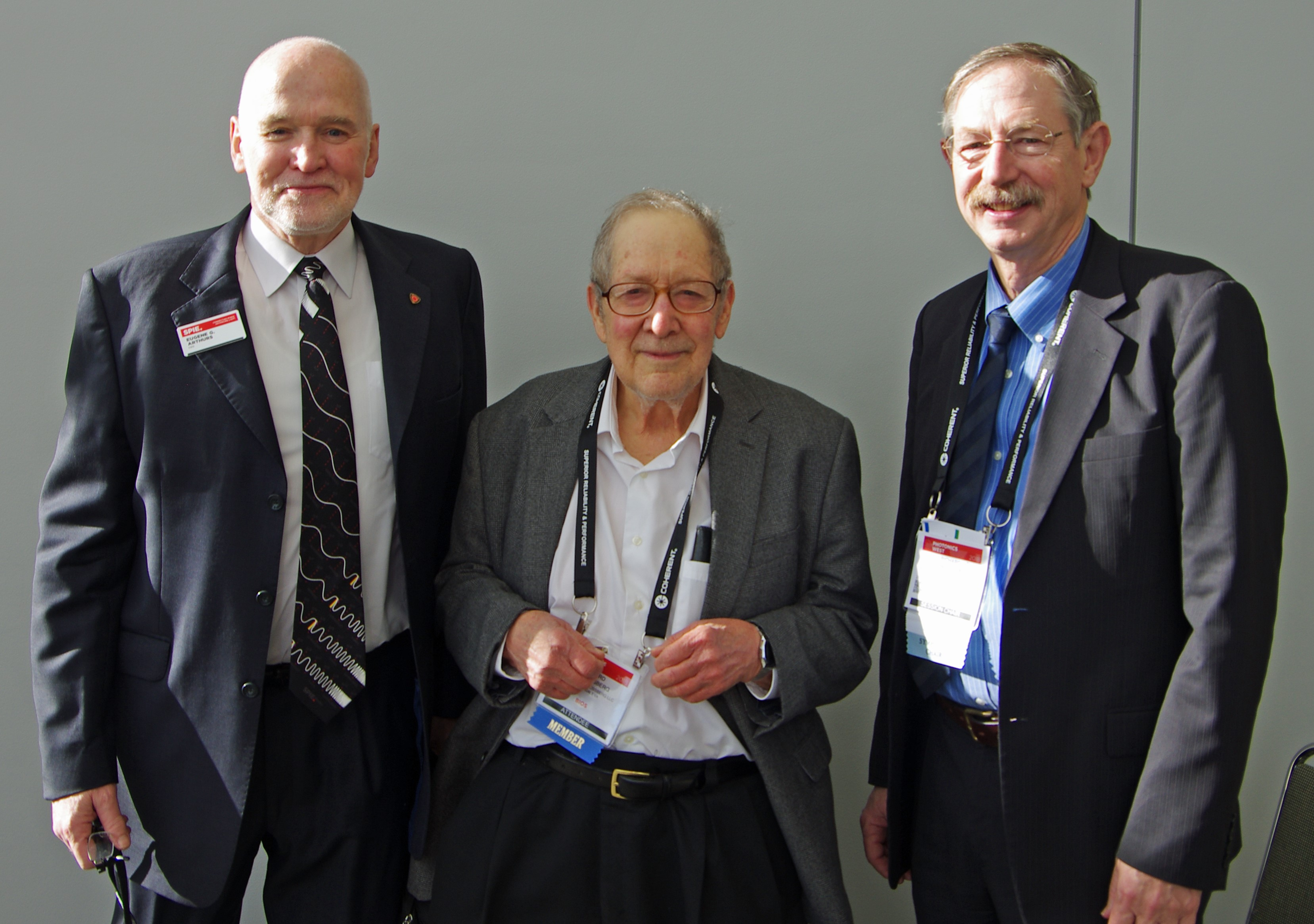 Eugene Arthurs, Howard Schlossberg, and R. Rox Anderson at SPIE Photonics West 2018