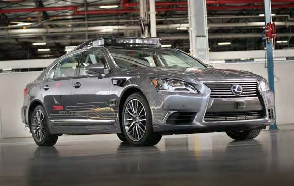 Lexus car, fitted with a rooftop lidar system from Luminar