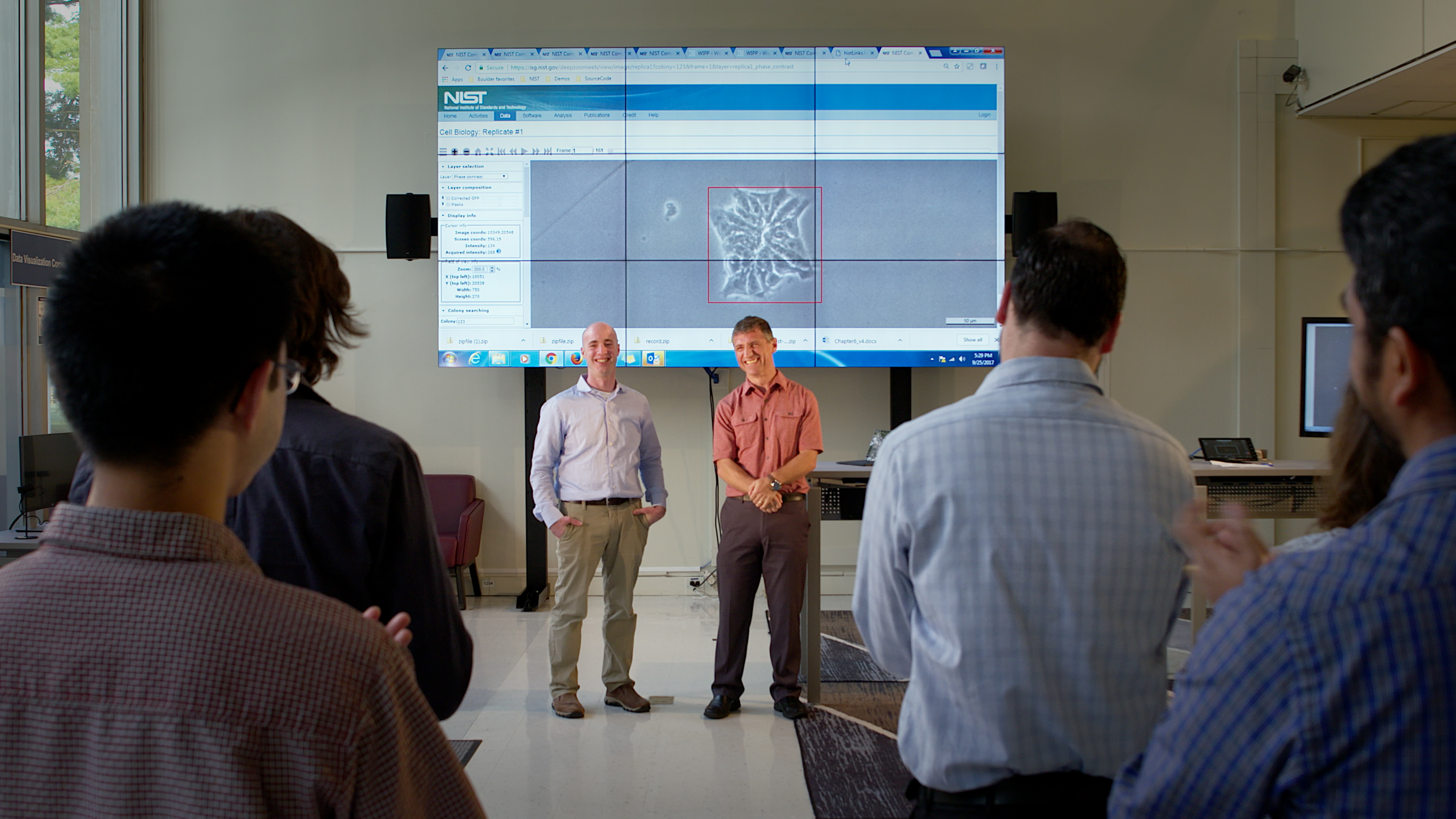 Micheal Halter (on left) and Peter Bacjsy, during a live demonstration of the software.