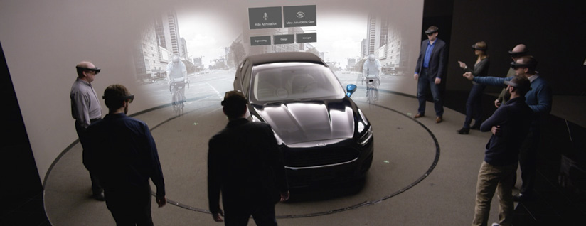 Microsoft's Hololens VR hardware assisting Ford's car designers