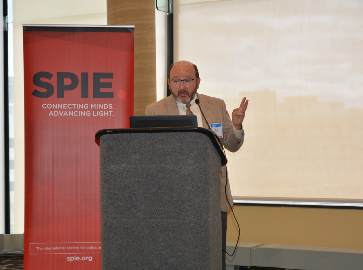 Joseph Marron of Raytheon Space and Airborne Systems speaks at the SPIE Fellow Member luncheon.