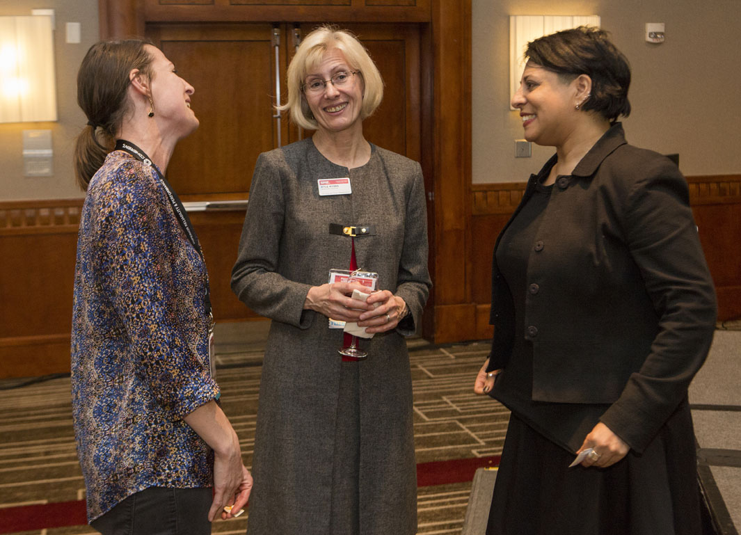Debbie Chachra, Kyle Meyers and Amanda Meier at SPIE Photonics West's Equity, Diversity, & Inclusion reception
