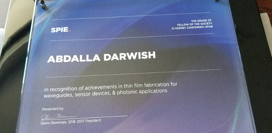 Abdalla Darwish SPIE Fellow Plaque