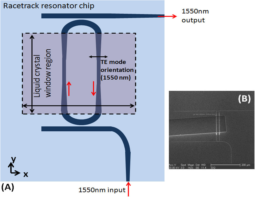 Phototuning Liquid Crystals For Photonic Integrated Circuit Diagram A Schematic Of Bandpass Filter Resonator In The Form Racetrack Shows Where Window Lcs Is Etched Into Sio2