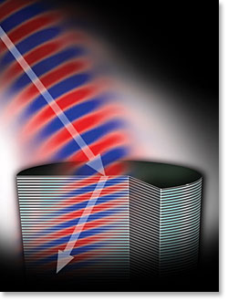 Fig. 2 is artist's rendering of a negative refraction in a new semiconductor metamaterial developed at Princeton.