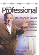 Valentin Gapontsev on cover of SPIE Professional magazine, July 2007
